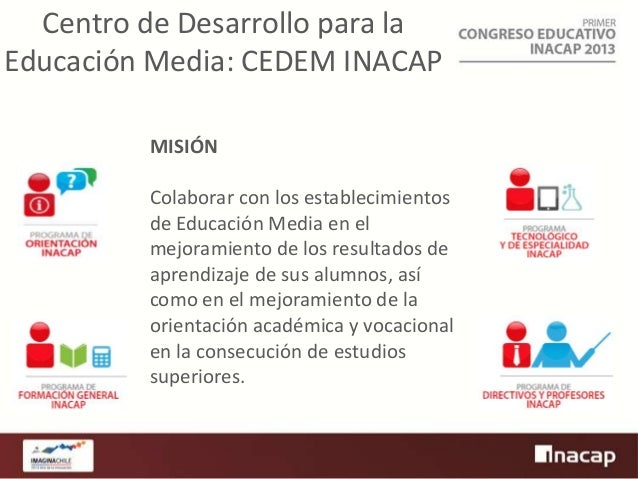Centro de Desarrollo para la Educación Media: CEDEM INACAP MISIÓN  Colaborar con los establecimientos de Educación Media e...