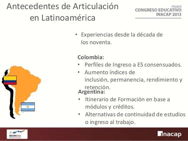 Antecedentes de Articulación en Latinoamérica • Experiencias desde la década de los noventa. Colombia: • Perfiles de Ingre...