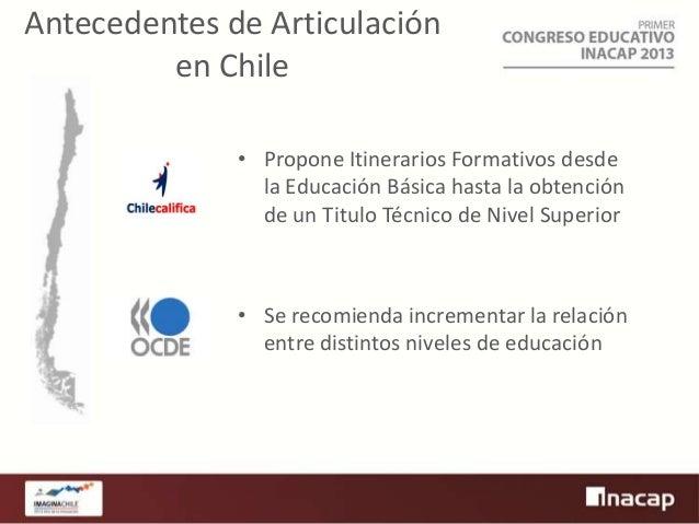 Antecedentes de Articulación en Chile • Propone Itinerarios Formativos desde la Educación Básica hasta la obtención de un ...