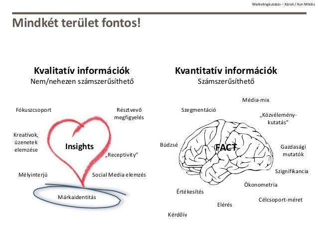 Mindkét terület fontos! Kvalitatív információk Nem/nehezen számszerűsíthető Kvantitatív információk Számszerűsíthető Mélyi...