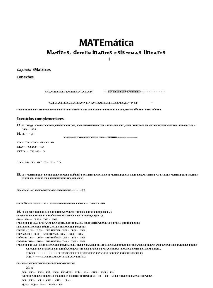 MATEmática                    Matrize s, dete rm inantes e sis tema s lineare s                                           ...
