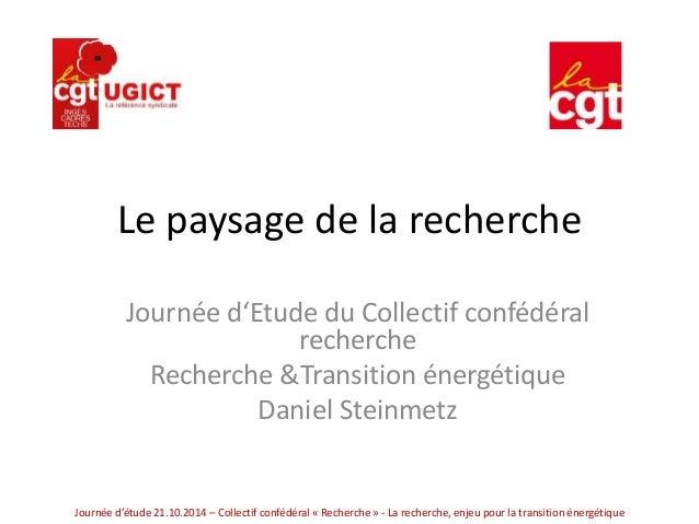 Le paysage de la recherche  Journée d'Etude du Collectif confédéral  recherche  Recherche &Transition énergétique  Daniel ...