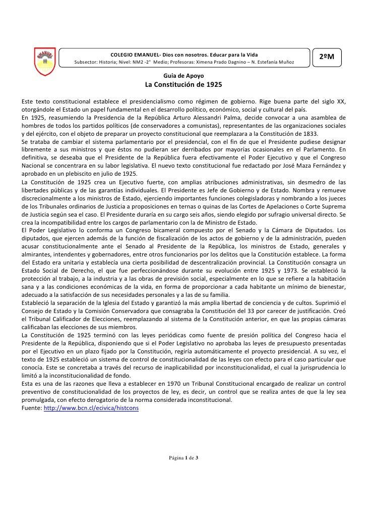 COLEGIO EMANUEL- Dios con nosotros. Educar para la Vida                             2ºM                    Subsector: Hist...