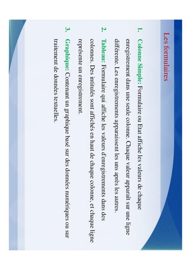 Les formulairesCe formulaire peut être constitué dune combinaison quelconque de textes, de   contrôles ou dimages qui vous...