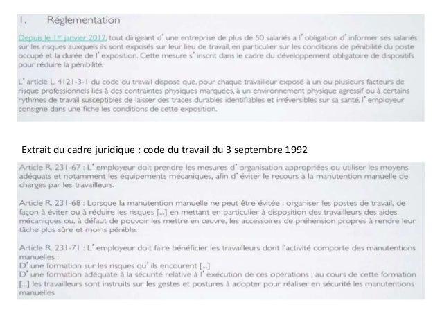 Extrait du cadre juridique : code du travail du 3 septembre 1992