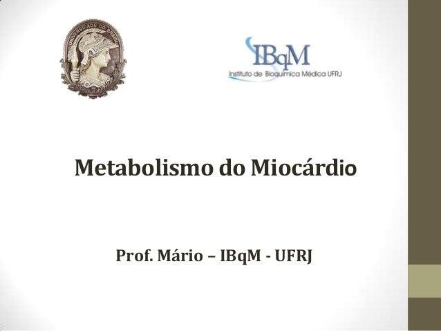 Metabolismo do Miocárdio  Prof. Mário – IBqM - UFRJ