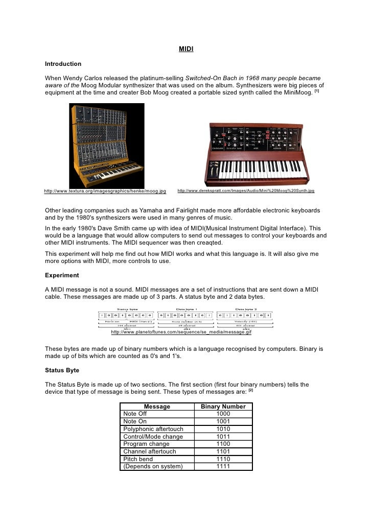 MIDI  Introduction  When Wendy Carlos released the platinum-selling Switched-On Bach in 1968 many people became aware of t...