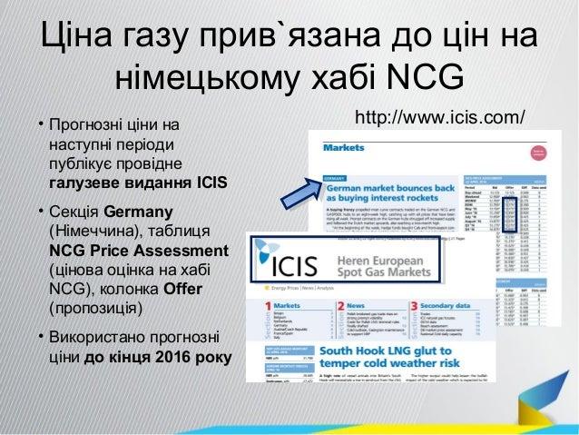 Ціна газу прив`язана до цін на німецькому хабі NCG http://www.icis.com/• Прогнозні ціни на наступні періоди публікує прові...