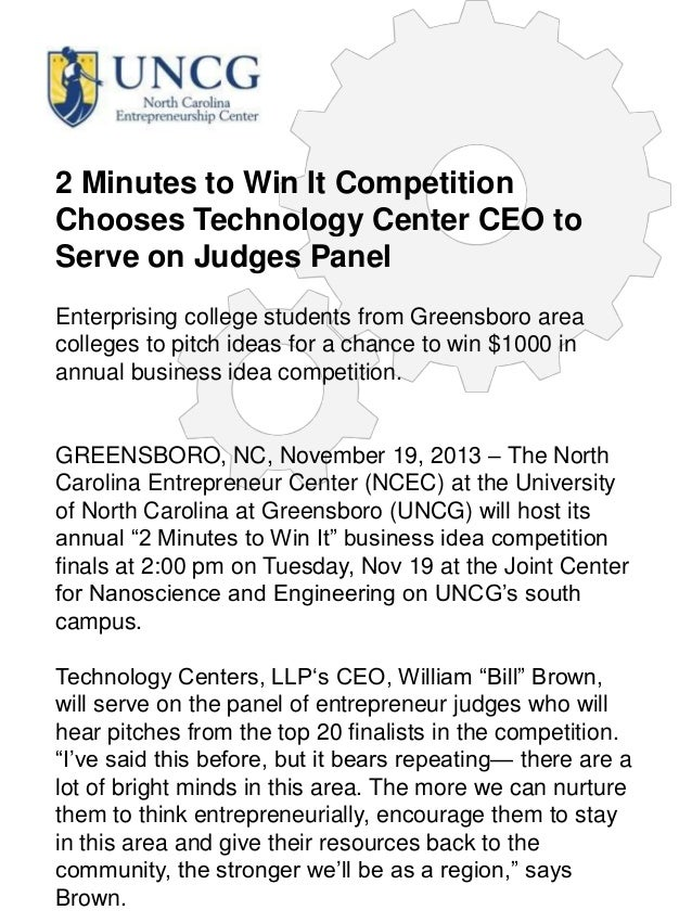 2 Minutes to Win It Competition Chooses Technology Center CEO to Serve on Judges Panel Enterprising college students from ...