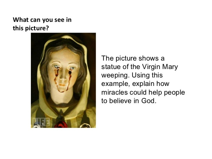 What can you see inthis picture?                      The picture shows a                      statue of the Virgin Mary  ...