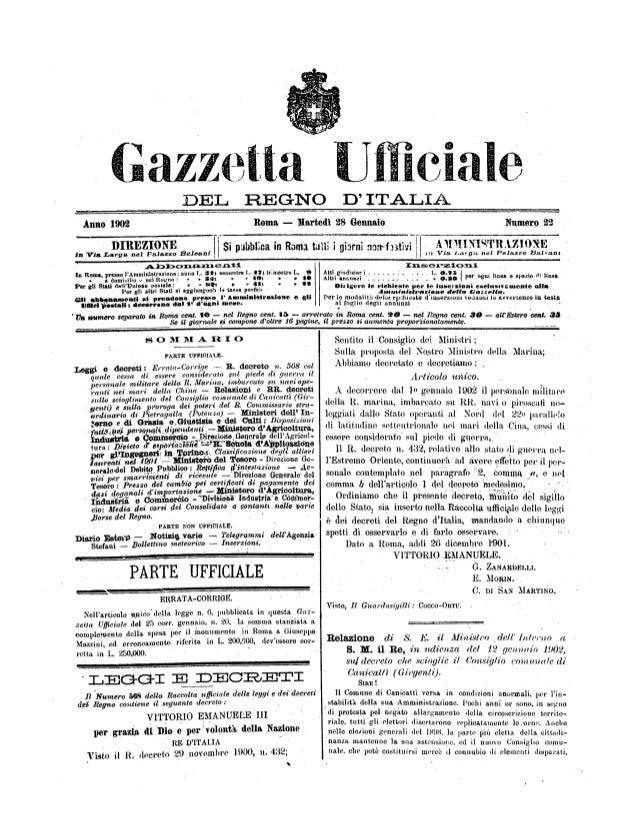 Gazzetta Línciale DEL REGNO D' ITALIA Anno 1902 Roma -- Martedì 28 Gennaio Numero $2 DIREZIONE g¡ públ:ca in Romitalli i g...