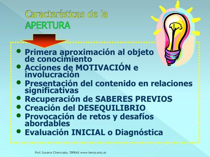 Prof. Susana Chercasky. TERRAS www.terras.edu.ar<br />Características de la APERTURA<br /><ul><li>Primera aproximación al ...