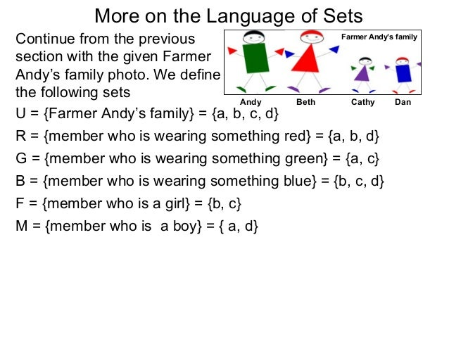 More on the Language of SetsContinue from the previous                         Farmer Andy's familysection with the given ...