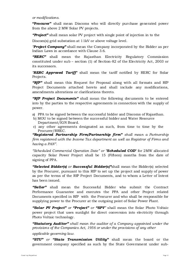Request For Proposal RfP For Installation Of 2 MW Canal