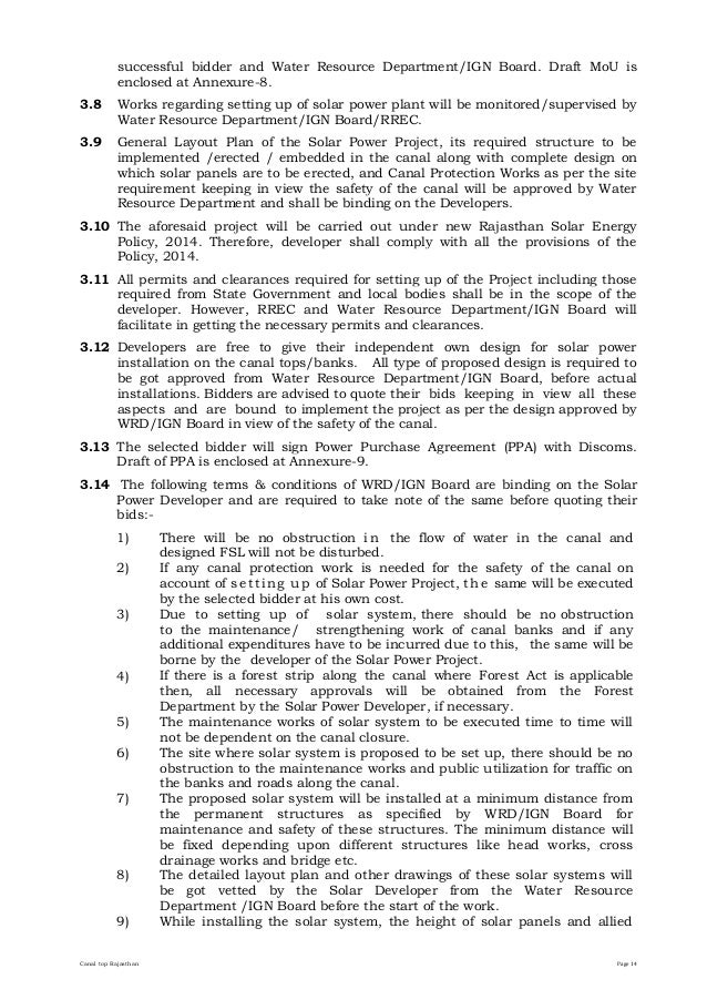 Request for Proposal (RfP) For Installation of 2 MW Canal Top Grid …