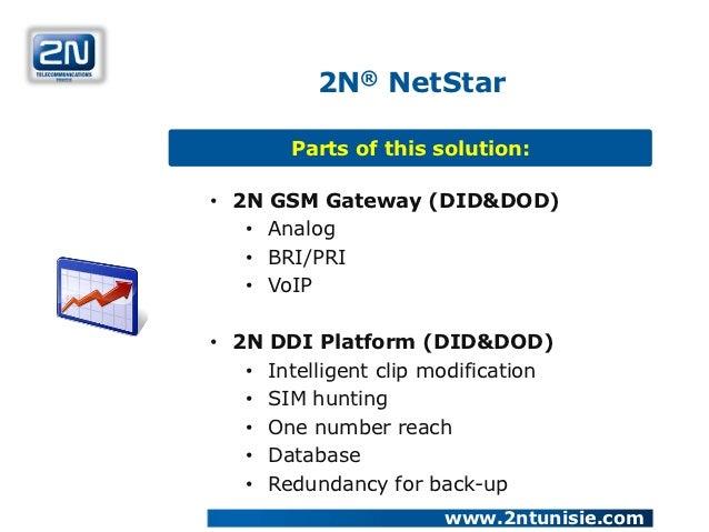2N® NetStar       Parts of this solution:• 2N GSM Gateway (DID&DOD)   • Analog   • BRI/PRI   • VoIP• 2N DDI Platform (DID&...