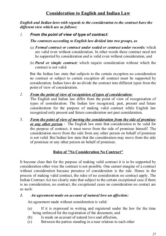 Nature And Importance Of Law Of Contract