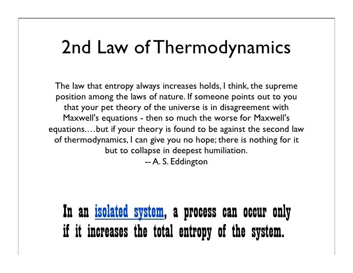 life the universe the 2nd law of thermodynamics