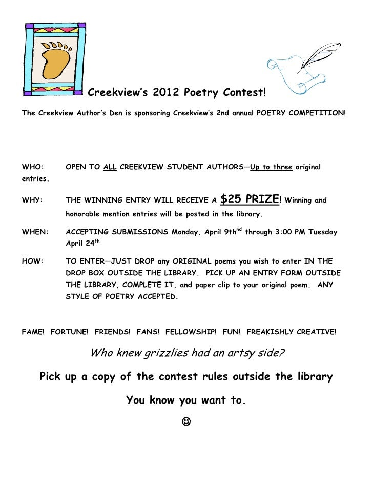 Creekview's 2012 Poetry Contest!The Creekview Author's Den is sponsoring Creekview's 2nd annual POETRY COMPETITION!WHO:   ...