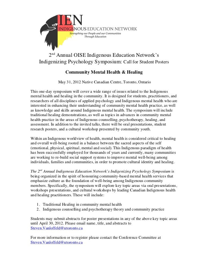 2nd Annual OISE Indigenous Education Network's     Indigenizing Psychology Symposium: Call for Student Posters            ...