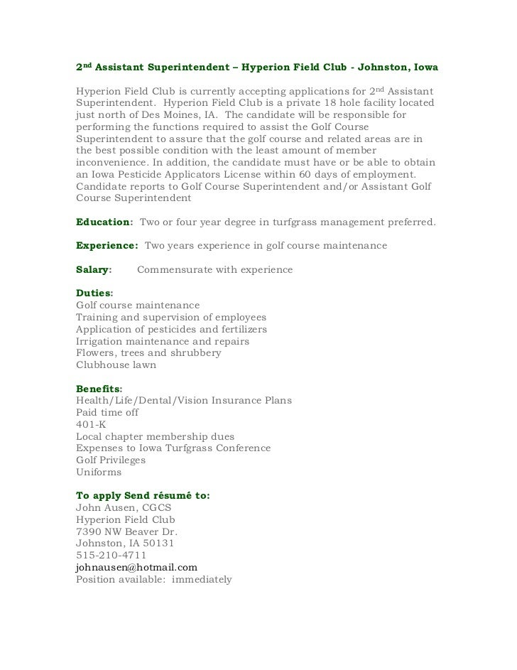 2nd Assistant Superintendent – Hyperion Field Club - Johnston, IowaHyperion Field Club is currently accepting applications...