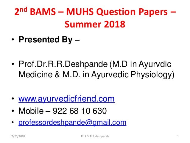 2nd BAMS question papers -Summer 2018