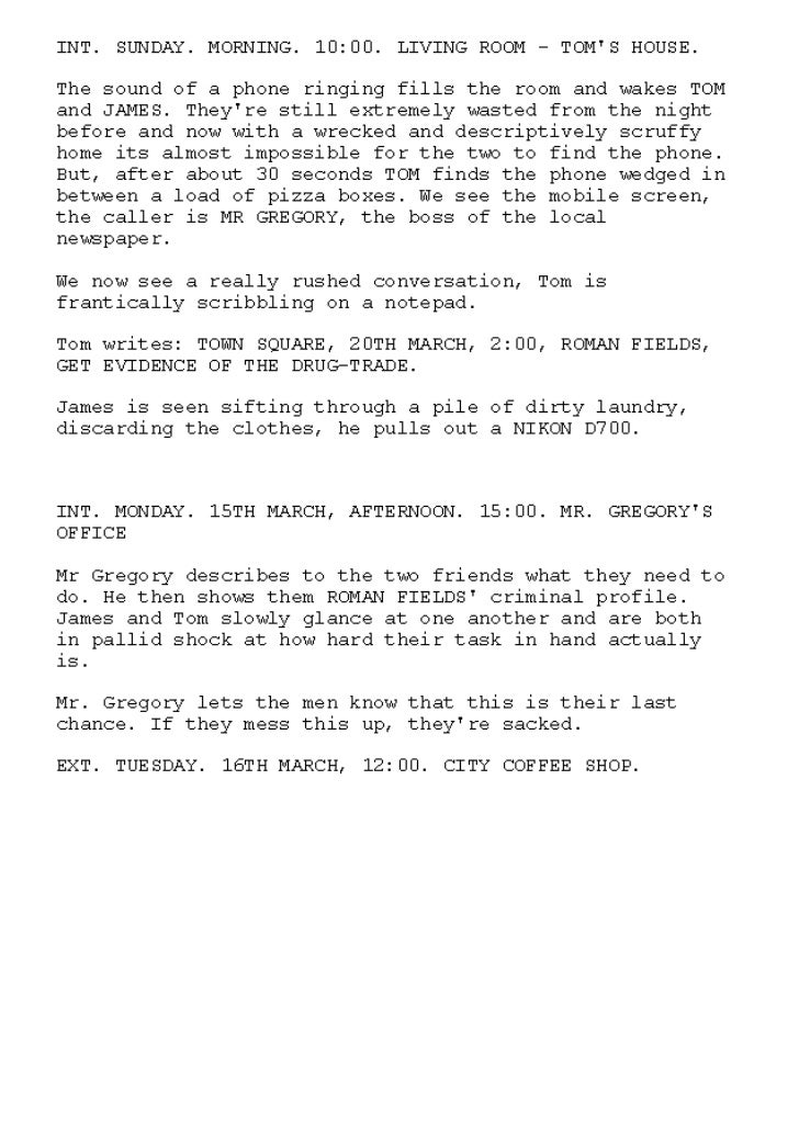 2nd Draft Script PRINTSCREENS