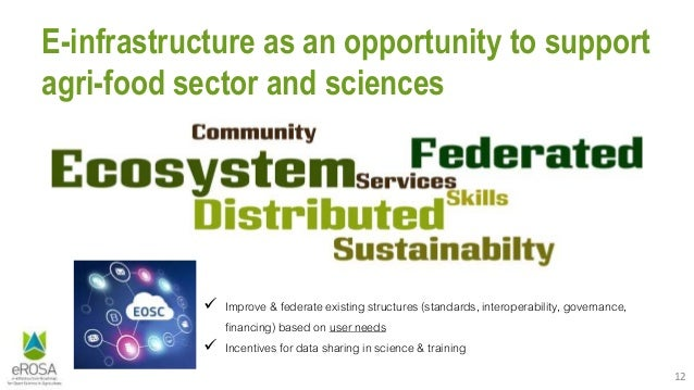 12 E-infrastructure as an opportunity to support agri-food sector and sciences  Improve & federate existing structures (s...