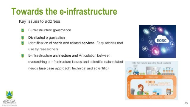 15 Towards the e-infrastructure Key issues to address E-infrastructure governance Distributed organisation Identification ...