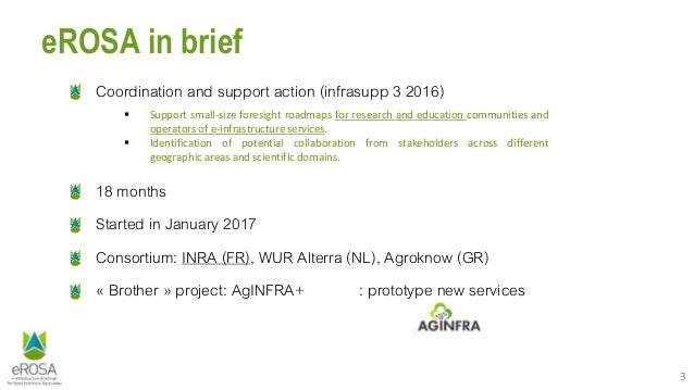 3 eROSA in brief Coordination and support action (infrasupp 3 2016) 18 months Started in January 2017 Consortium: INRA (FR...