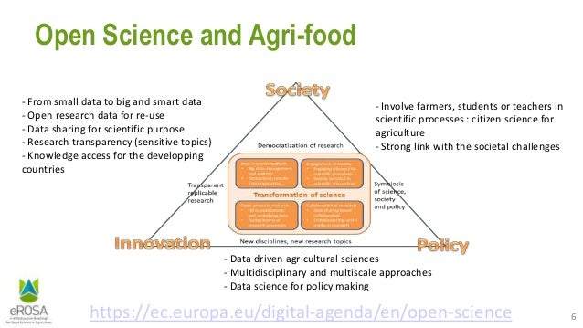 6 Open Science and Agri-food https://ec.europa.eu/digital-agenda/en/open-science - From small data to big and smart data -...