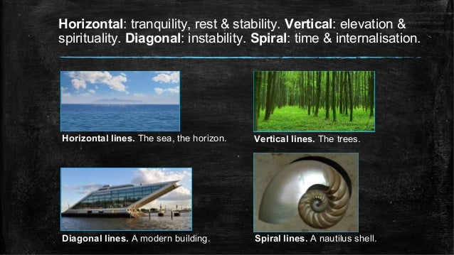 Horizontal: tranquility, rest & stability. Vertical: elevation & spirituality. Diagonal: instability. Spiral: time & inter...