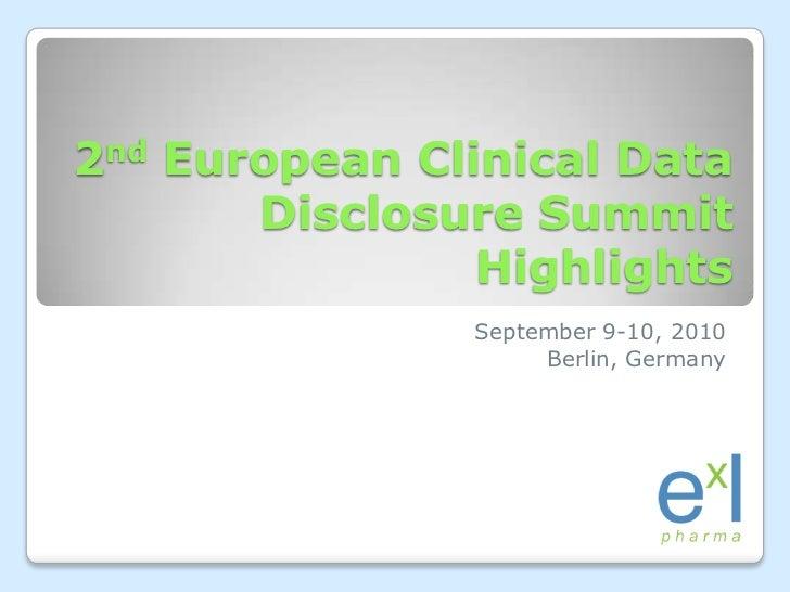 Highlights from ExL Pharma's  2nd European Clinical Data Disclosure Summit