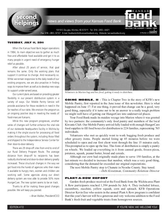 News and views from your Kansas Food Bank                                                   1919 E. Douglas, Wichita, KS 6...