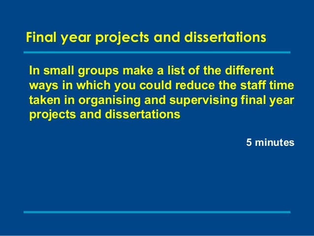 "final year project dissertation With their final-year project students are expected to consult the paper ""notes for the presentation of final year dissertations in the faculty of engineering."