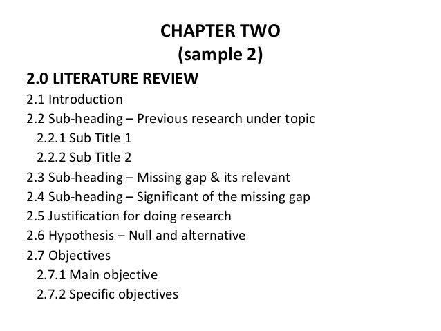 should a literature review have subheadings