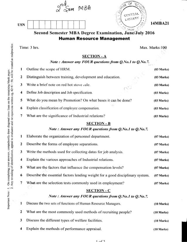 2nd Semester MBA (Jun-2016) Question Papers