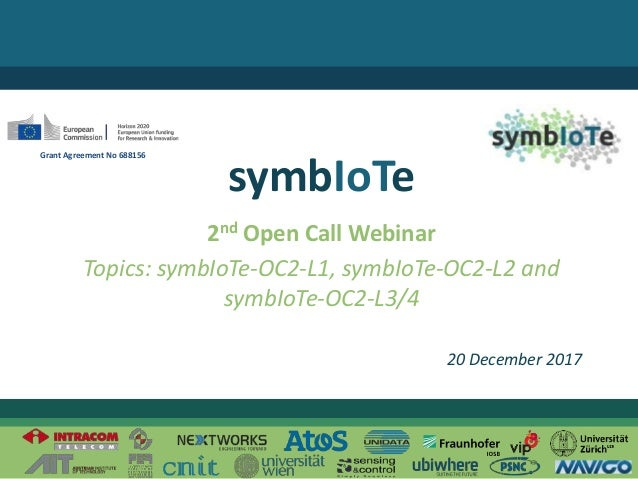 © 2017 – The symbIoTe Consortium 2nd Open Call Webinar Topics: symbIoTe-OC2-L1, symbIoTe-OC2-L2 and symbIoTe-OC2-L3/4 symb...