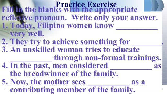 2nd qtr 3 reflexive pronouns – Reflexive Pronouns Worksheet