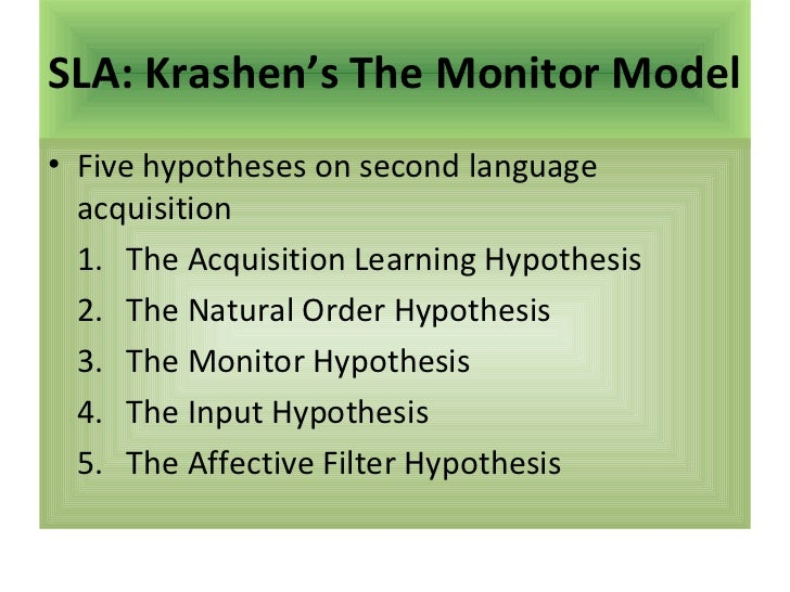 SLA: Krashen's The Monitor Model• Five hypotheses on second language  acquisition  1. The Acquisition Learning Hypothesis ...