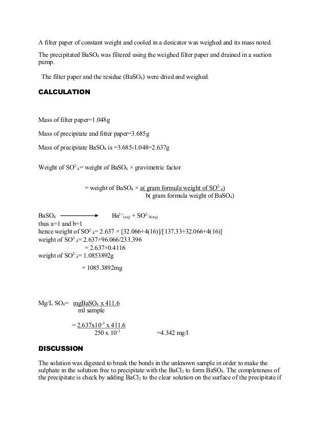 gravimetric analysis of barium chloride