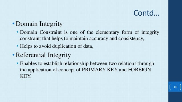 Concept of Relational Database and Integrity Constraints [DIFFERENCE …