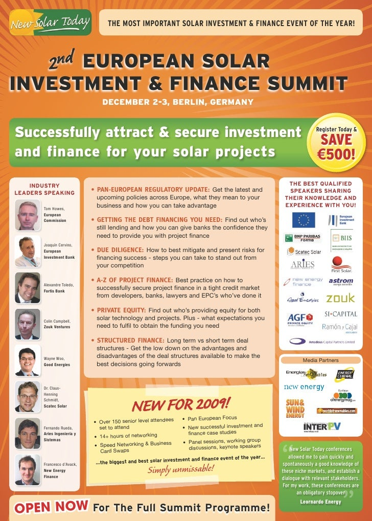 The mosT imporTanT soLar inVesTmenT & FinanCe eVenT oF The year!         2nd european SolarinveStment & Finance Summit    ...
