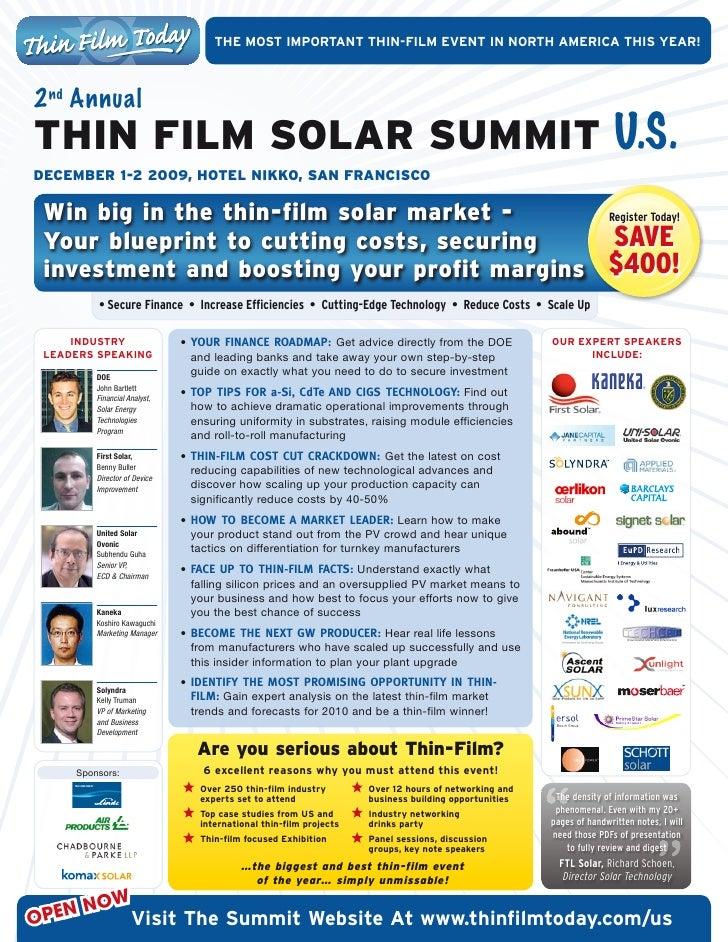 ThEmOSTImPOrTanTThIn-fIlmEvEnTInnOrThamErIcaThISyEar!    2 nd Annual THiN Film SolAr SUmmiT U.S. December 1-2 200...
