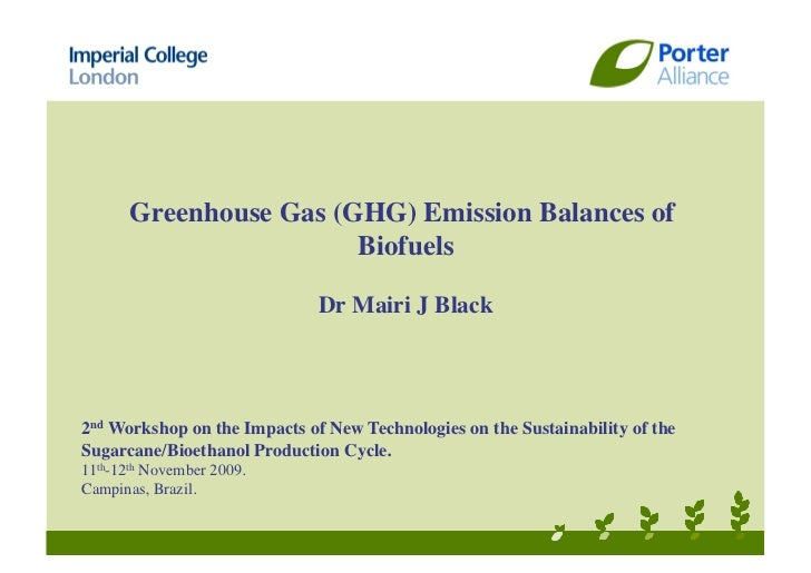Greenhouse Gas (GHG) Emission Balances of                        Biofuels                              Dr Mairi J Black2nd...