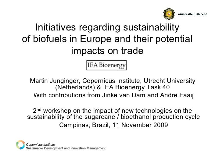 Initiatives regarding sustainabilityof biofuels in Europe and their potential             impacts on trade  Martin Junging...
