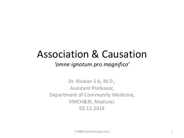 Association & Causation 'omne ignotum pro magnifico' Dr. Rizwan S A, M.D., Assistant Professor, Department of Community Me...