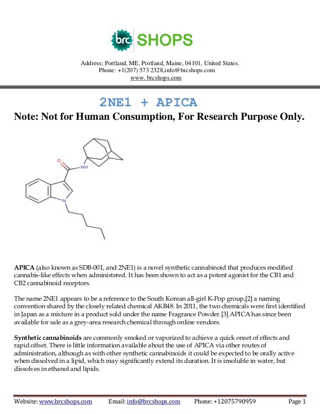 2NE1 + APICA acts as a potent agonist for the cannabinoid