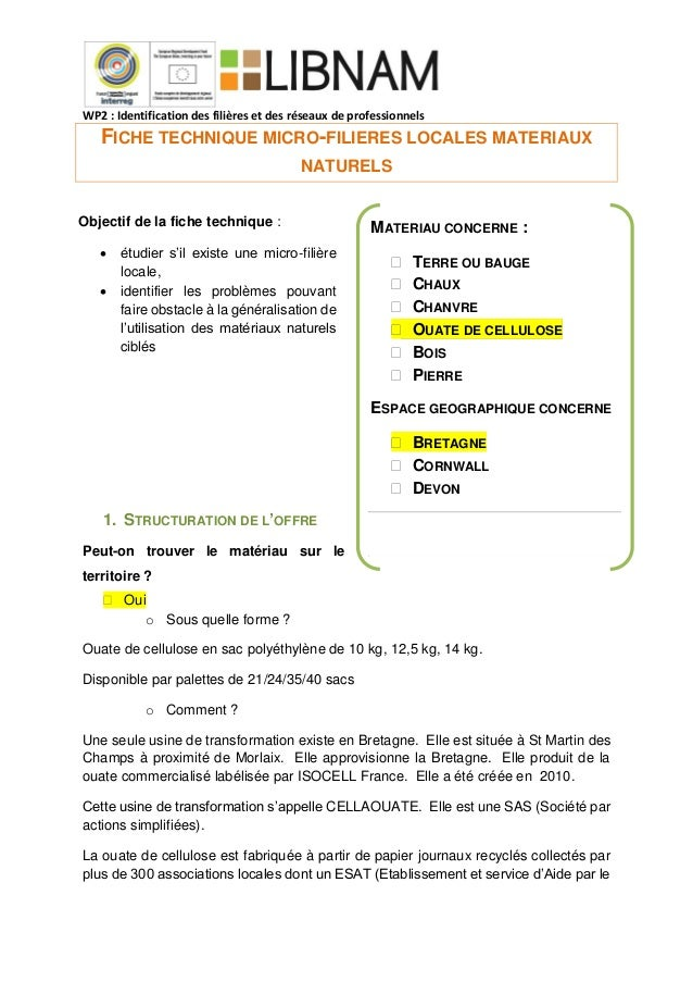 WP2 : Identification des filières et des réseaux de professionnels FICHE TECHNIQUE MICRO-FILIERES LOCALES MATERIAUX NATURE...