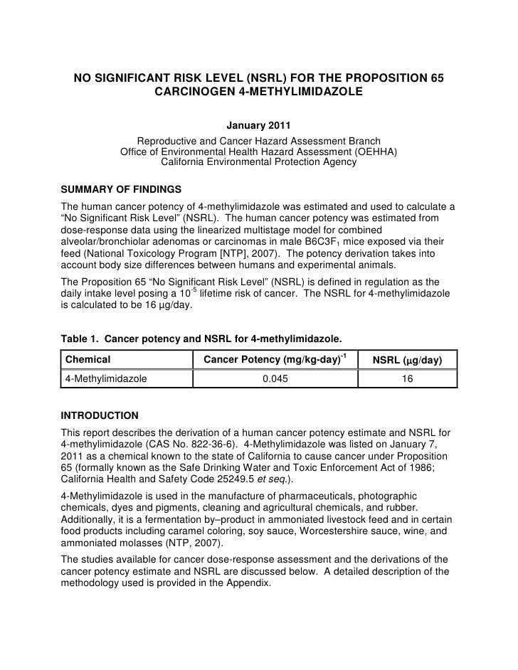NO SIGNIFICANT RISK LEVEL (NSRL) FOR THE PROPOSITION 65              CARCINOGEN 4-METHYLIMIDAZOLE                         ...